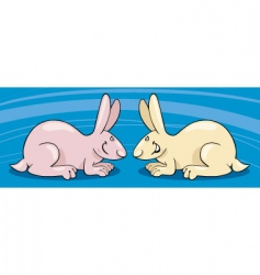 two cute bunnies vector image