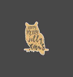 vintage hand drawn owl with christmas lettering vector image