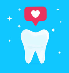 white healthy beautiful tooth with heart social vector image