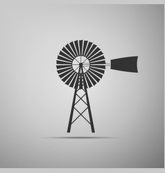 Windmill icon isolated on grey background vector
