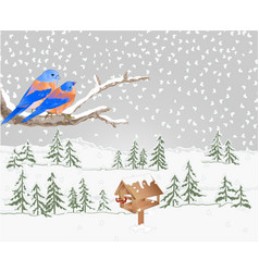 winter landscape forest with snow with bluebird vector image