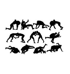 Wrestler silhouettes vector