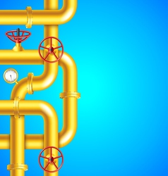 Yellow plumbing pipes on blue background place for vector