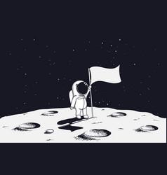 Astronaut on moon with flag vector
