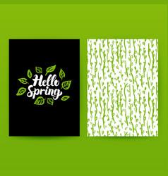 Hello spring green poster vector