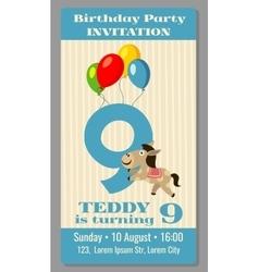 Kids birthday party cartoon animals invitation vector