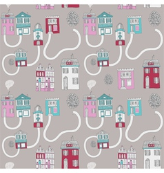 little town seamless background vector image