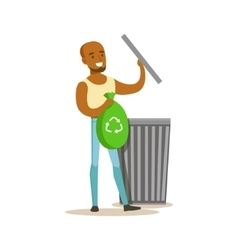 Man Throwing Waste In Recycling Bag Contributing vector image vector image