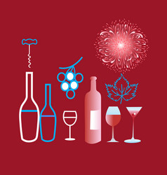 poster graphics of different wine and glasses vector image vector image