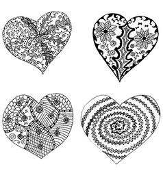 Set of hand drawn hearts in tribal style vector image vector image