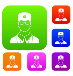 veterinarian set collection vector image vector image