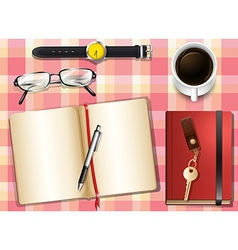 A topview of a table with many things vector