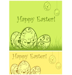 easter eggs green grass vector image vector image