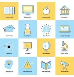 Education Flat Line Icons vector image