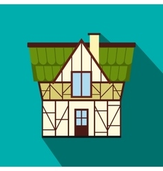 Half timbered house in Germany iconflat style vector image