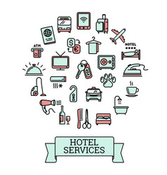 hotel services - set of 25 color outline icons vector image