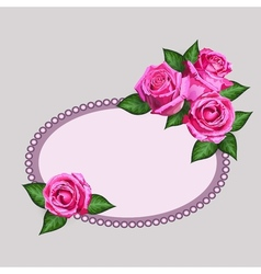 Pink roses card vector image vector image