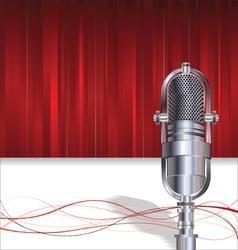 Retro microphone on red background vector image vector image