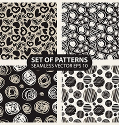 set of abstract graphic patterns circles and heart vector image vector image