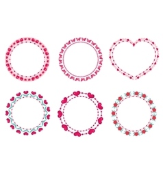 Valentines day frame set Cute round border with vector image vector image
