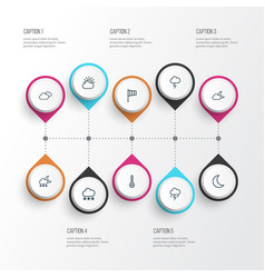 Climate outline icons set collection of windsock vector