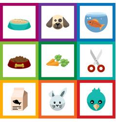 Flat icon pets set of fishbowl shears dog food vector