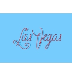 Las Vegas one line modern lettering with famous vector image