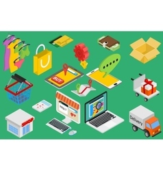 Online shopping - isometric items vector image