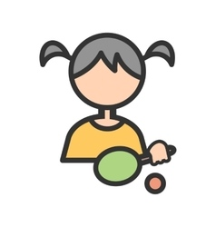 Playing table tennis vector
