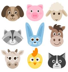 set of cute cartoon colorful farm animals vector image