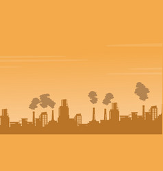 silhouette industry pollution background vector image vector image