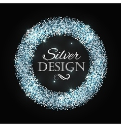 Silver glitter christmas frame with calligraphy vector image