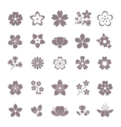 Simple flower floral graphic icons set vector image