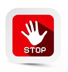 Stop Palm Hand Flat Design Symbol on Rounded vector image vector image