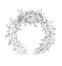 vintage wreath of flowers and leaves vector image vector image