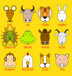 12 chinese zodiac icon set vector image vector image