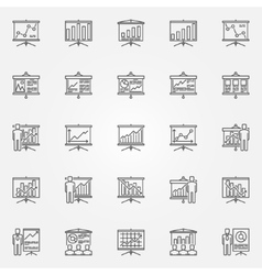 Business presentation with diagrams icons vector image vector image