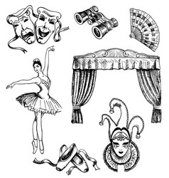 ink hand drawn theater set vector image