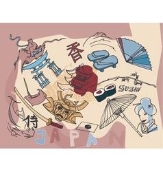 japan doodles vector image vector image