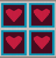 knitted woolen seamless pattern with pink hearts vector image vector image