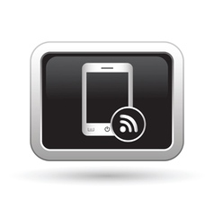 Phone with rss icon vector image vector image