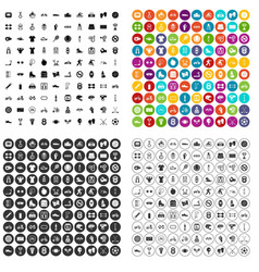 100 sport icons set variant vector image