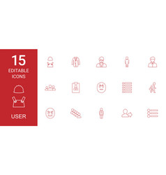 15 user icons vector image