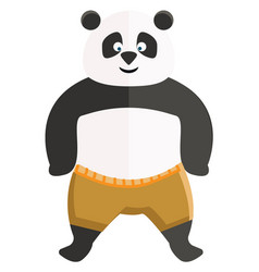 A cartoon kungfu panda in yellow trousers or color vector