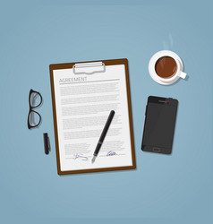 agreement document vector image