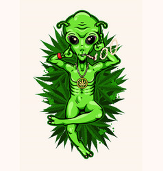 alien with jamb chilling on cannabis field vector image