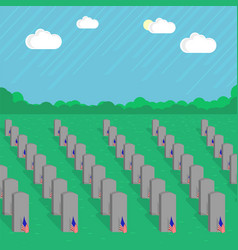 American flag and gravestones remember and honor vector
