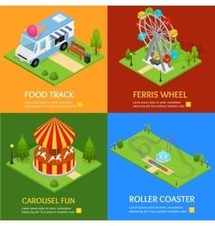 Amusement Park Banner Card Set vector image