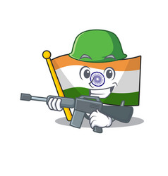 Army indian flag kept in cartoon drawer vector