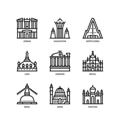 Asian cities and counties landmarks icons set 3 vector